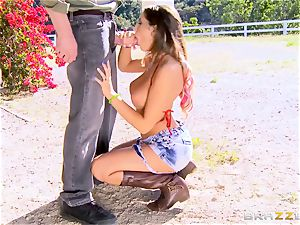 August Ames gets her jugs creamed outdoors