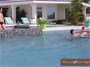 Gingers play around with other super-naughty couples at poolside