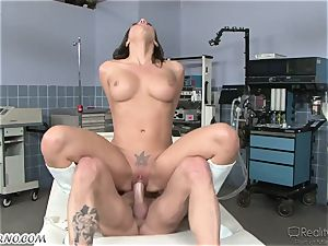 huge-boobed nurse Rachel takes the meat insertion herself